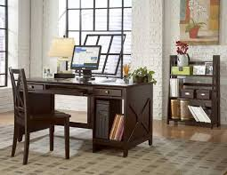 retro home office. Great Loooking Retro Home Office Design With White Brick Wall And Dark Wooden Desk Also Grey Pattern Rug On Floor Idea E