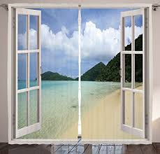 open window with curtains. Modren Curtains The Open Window Decor Curtains By Ambesonne Tropical Island Beach View And  Dreamy Summer Vacation For With E