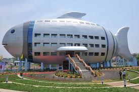 fish for office. fish shaped office building in india for a