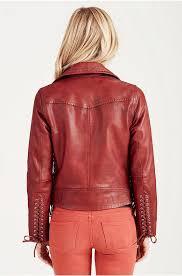 womens true religion red lace up leather moto jacket true religion women jackets g57z1047