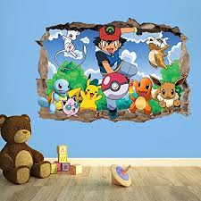 High Quality POKEMON GO 3D KIDS WALL STICKER 3D BEDROOM BOYS GIRLS (100cm (w) X