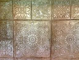 faux kitchen tile wallpaper. faux tin tile metallic kitchen wallpaper