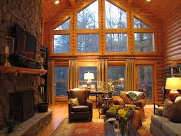 Living Room:Large Log Cabin Living Room With Natural Stone Fireplace Large  Log Cabin Living