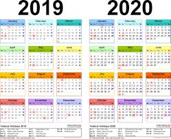 2019 2020 Calendar Free Printable Two Year Excel Calendars