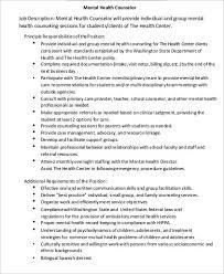 Mental Health Counselor Job Description