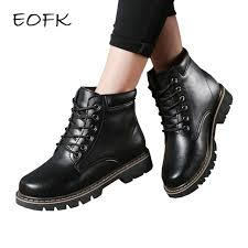 eofk women leather boots ankle boots with short plush womens casual boots new warm winter shoes