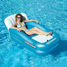 inflatable pool float couch oversized lounge built in cooler cup holder raft toy new
