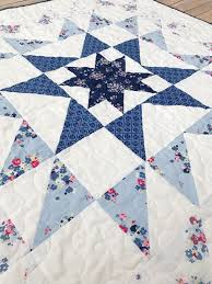 Fort Worth Fabric Studio: Blue Carolina Starburst Quilt {Free Pattern} & I absolutely LOVE the back of this quilt! We picked the navy and white lace  print for the back, and it is PERFECT! This print is simply stunning! Adamdwight.com