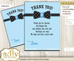 Card For Baby Boy Boy Bow Tie Thank You Card Printable For Baby Boy Shower Or Birthday Diy Blue Black Dots Aa86bsb22