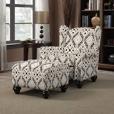 Overstock Living Room Chairs Portfolio Hani Grey And Black Ikat Design Chair And Ottoman By