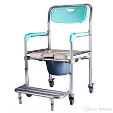wheelchair potty chair aluminum alloy elderly stroke hemiplegia handicapped disabled people toilet chair pregnant woman shower chair 4 wheel wheelchair
