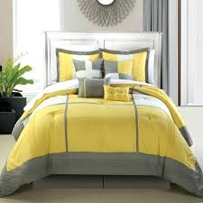 silver stained wooden queen size bed with headboard and lemon also grey duvet cover yellow duvet