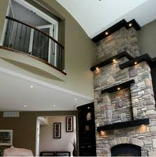 Stunning Living Rooms With Stacked Stone Fireplace  RilaneTall Fireplace