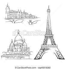 Architectural drawings of famous buildings Structure Paris France Famous Buildings Csp46818382 Vectorstock Paris France Famous Buildings Monochrome Outlined Travel Landmarks