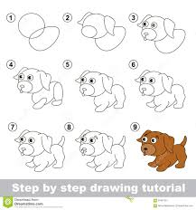 Small Picture Drawing Tutorial How To Draw A Little Puppy Stock Vector Image