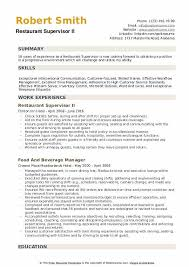Exceptional Resume Examples Restaurant Supervisor Resume Samples Qwikresume