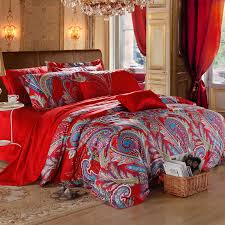 paisley comforter set queen red and blue indian tribal bohemian modern 11