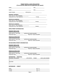 Standard Lease Application Form | Resume Examples