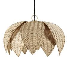 woven plant fibre flower pendant light