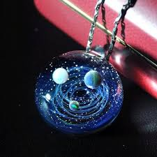handmade glass universe pendant