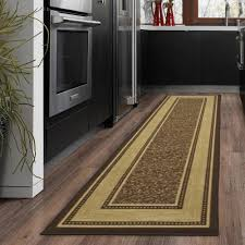 ottomanson ottohome collection contemporary bordered design chocolate 2 ft x 5 ft runner rug