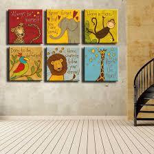 <b>Canvas Prints</b> Oil Painting 6 Pieces/set Modern <b>Cartoon Animals</b> ...