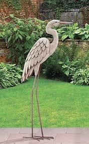 crane garden statue garden pond egret statue metal coastal bird indoor outdoor crane