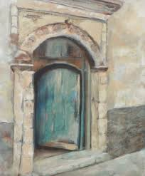 blue door old world still life oil painting by arizona artist mary opat