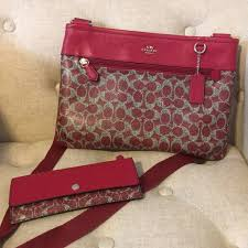 Red Coach Signature Large Crossbody   Wallet