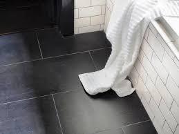 large black tile bathroom floor