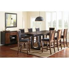 steve silver julian 9 piece counter height dining table set with optional server black walnut walmart