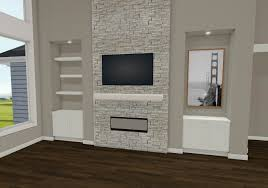 chief architect rendering transitional stone fireplace with tv above