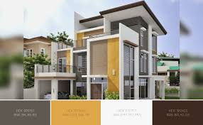 this awesome house exterior has 4 colors combination with wenge indian yellow white smoke