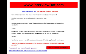 can i make constructors final static abstract java interview can i make constructors final static abstract java interview question and answers