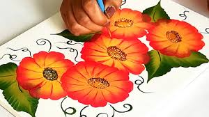 Easy Floral Designs To Paint How To Make Easy Beautiful Floral Painting Design On Fabric Fabric Painting Designs