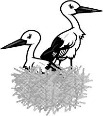 巣とコウノトリのイラストかわいい鳥素材のプチッチ