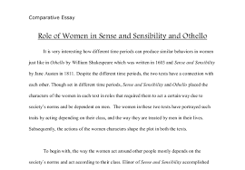 comparing the role of women in sense and sensibility and othello  document image preview