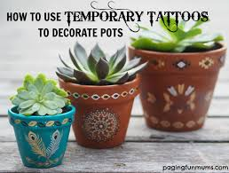 using temporary to decorate terracotta pots