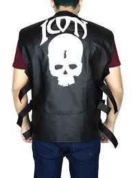 men s skull icon motorcycle leather vest