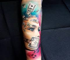 Money Face Tattoo By Marek Hali Photo 24158