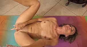 Naked woman doing yoga