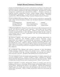 Sample Resume Summary Statement summary statement examples Ozilalmanoofco 3