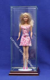 barbie doll size glass display case with wood base desktop