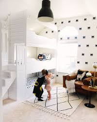 Batman Room Design Triple Bunk Bed Batman Boys Bedroom White And Black