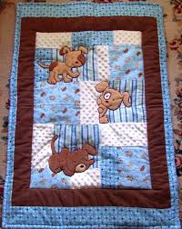 189 best Baby quilts images on Pinterest | Creative, Fabric strips ... & Puppy Baby Quilt Minky Flannel Blanket Patchwork Flannel Back Boy Blanket  35 x 46. $112.90 Adamdwight.com