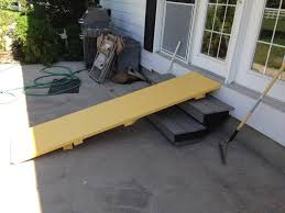dog ramps in paradise at right is the ramp installed over the stairs outside our back door i put the final top side paint on it this morning