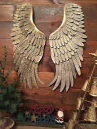 angel wings decor metal hanging wall rustic distressed vintage gold set large uk