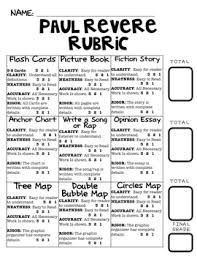 choice board paul revere board rubric graphic organizers by  choice board paul revere board rubric graphic organizers