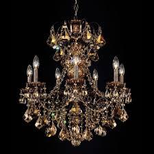 schonbek new orleans 7 light chandelier shown in heirloom bronze with golden teak swarovski crystal 3656