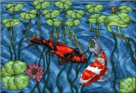 koi pond beautiful stained glass pattern of two koi goldfish amongst a gathering of waterlilies free pattern in zip format offered by paned